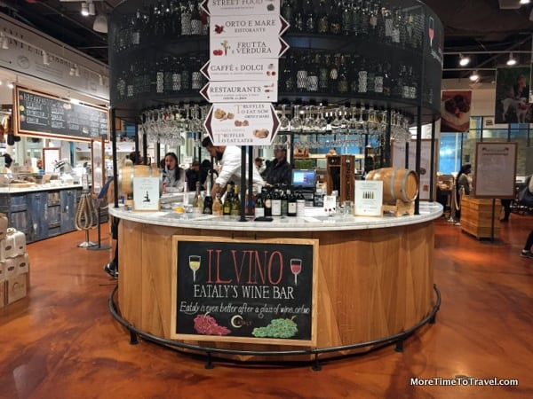 Welcoming wine bar at Eataly