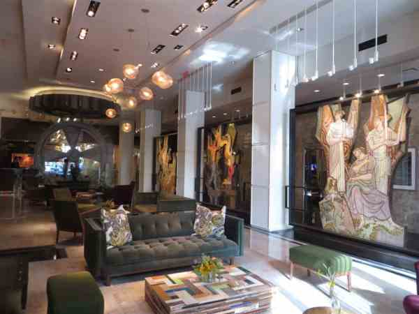 Artistic lobby of The Joule Hotel