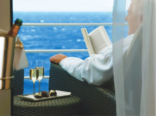 Relaxing on the balcony at sea