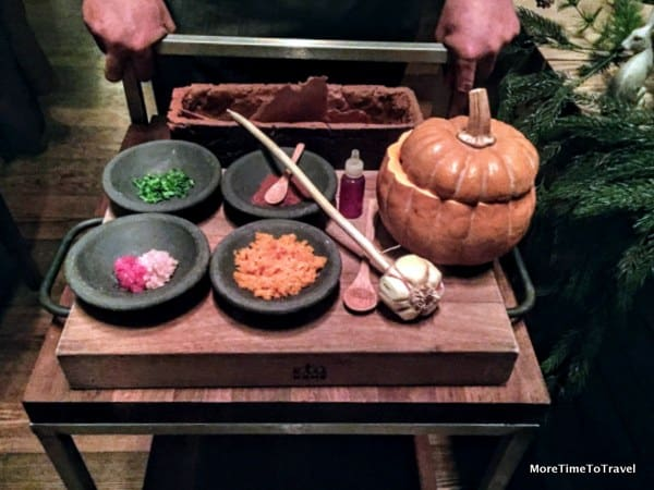 Tableside serving of squash guacamole