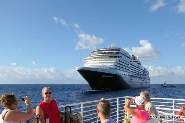 View of Holland America's Nieuw Amsterdam from the open-air tender