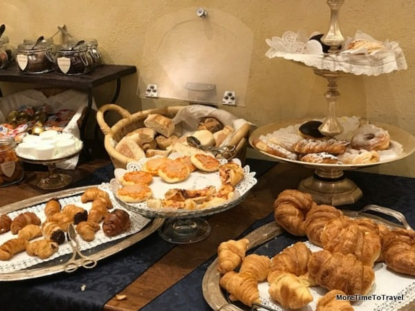 Some of the pastries in the charming breakfast room at Art Hotel Commercianti