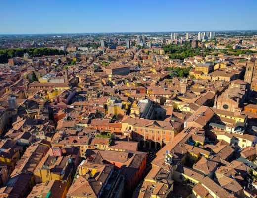 Red rooftops of Bologna as viewed from the Asinelli Tower (Credit: Andrew Levine)