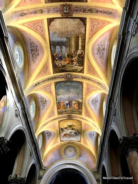 Look up at the vaulted ceiling of Chiesa Madre dei Santi Pietro e Paolo in Galatina