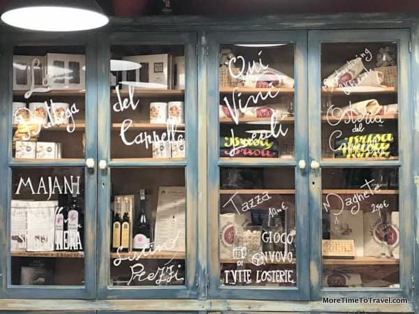 The homey cupboard at Osteria del Cappello