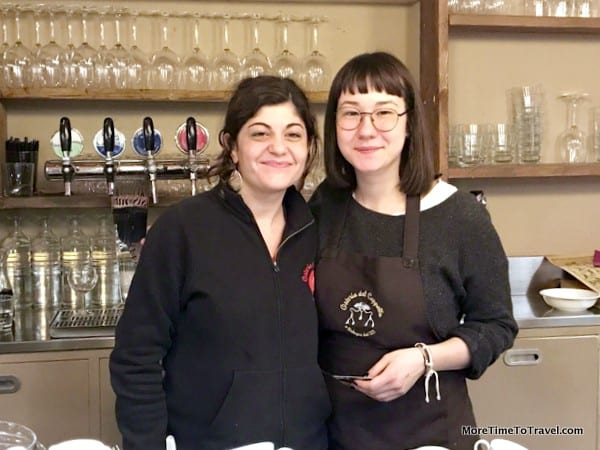 Silvia and Viola behind the bar