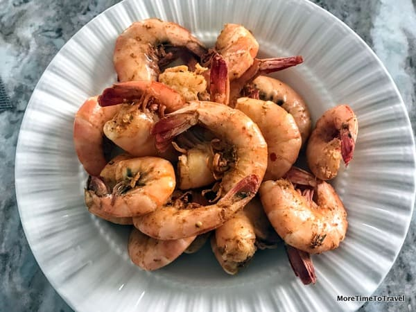Cold, spiced shrimp, ready-to-eat