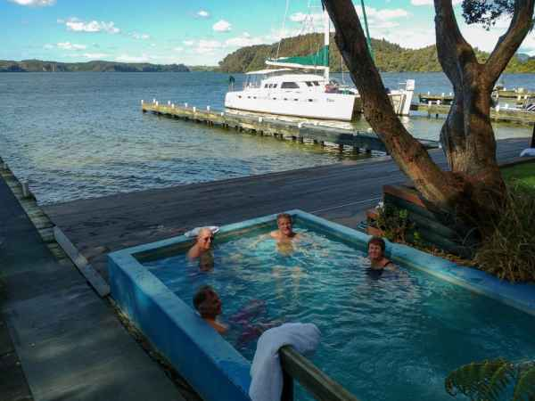 Relaxing at Lake Rotoiti hot pools