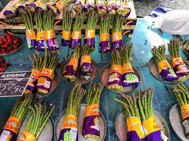 Local asparagus at the Saint Antoine Market