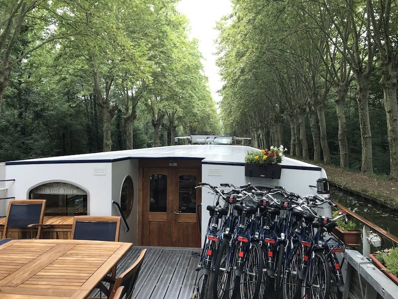 Bicycles on board a hotel barge
