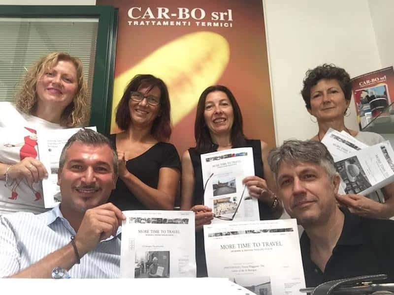 Teacher (top row, third from left)and her language students in Bologna