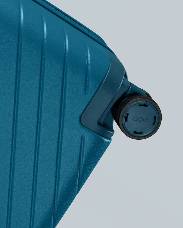 Wheel System on the OOD Carry-On (in teal)