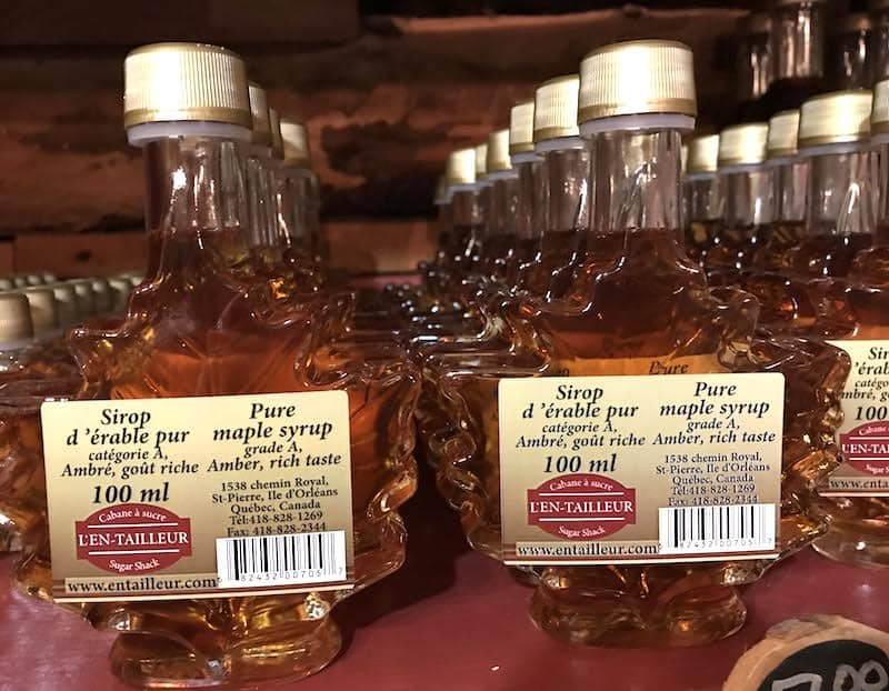 Maple syrup on sale at a sugar shack in Quebec