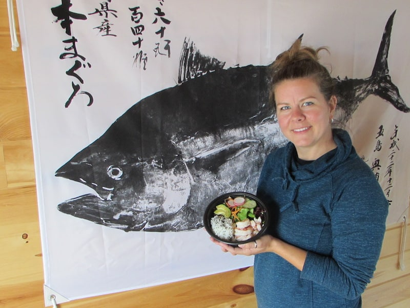 Food Island - Owner of Poke Shack displays one of her Hawaiian/Japanese lunches