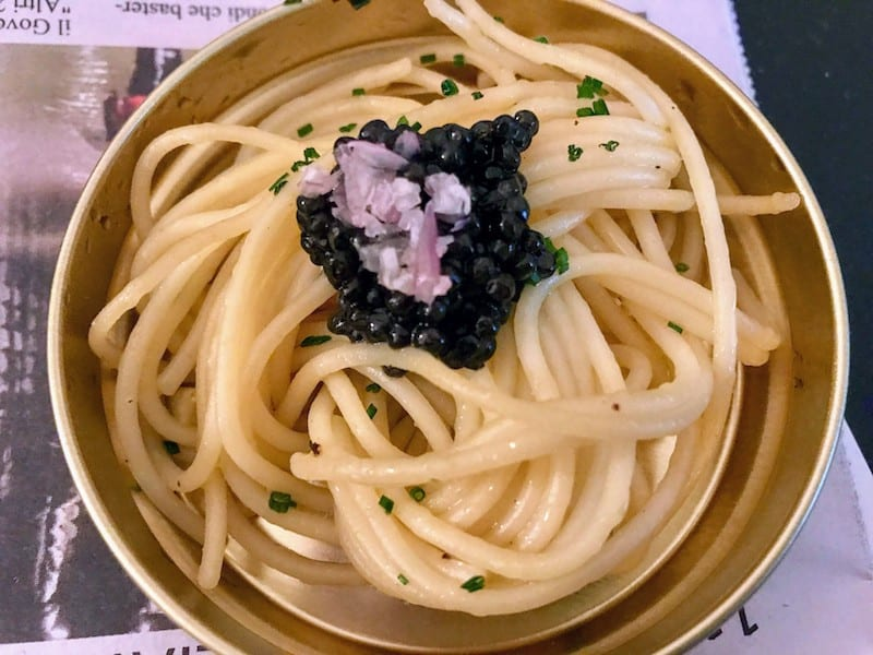 Gualtiero Marchesi Spaghetti salad with caviar and chives