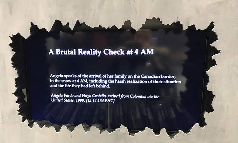 One of the many graphic displays at Refuge Canada