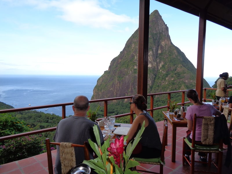 Breakfast by the Pitons