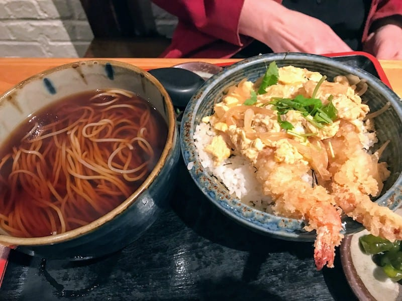 Lunch portion of Ten Don, Shrimp Tempura over rice with hot soba noodles