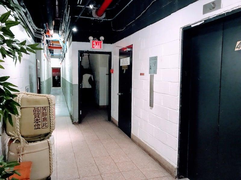 The inauspicious entryway to Sakagura sake bar in NYC
