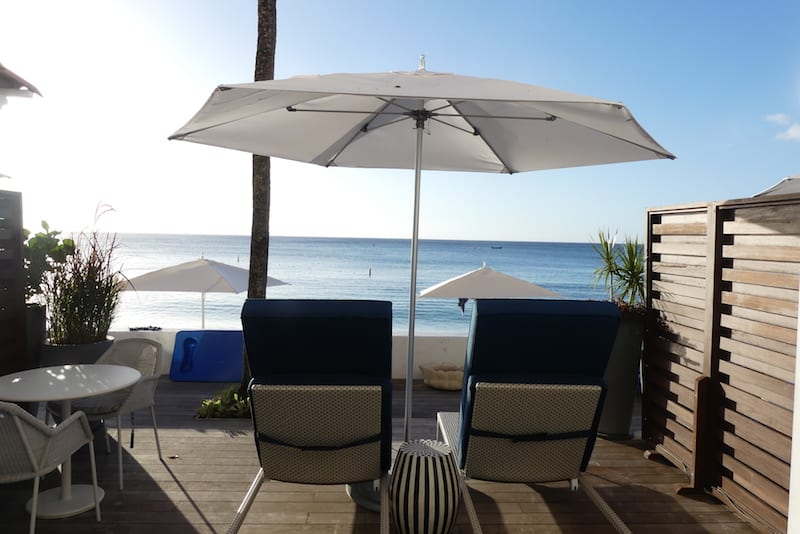 A beachside balcony at the Fairmont Royal Pavilion in Barbados