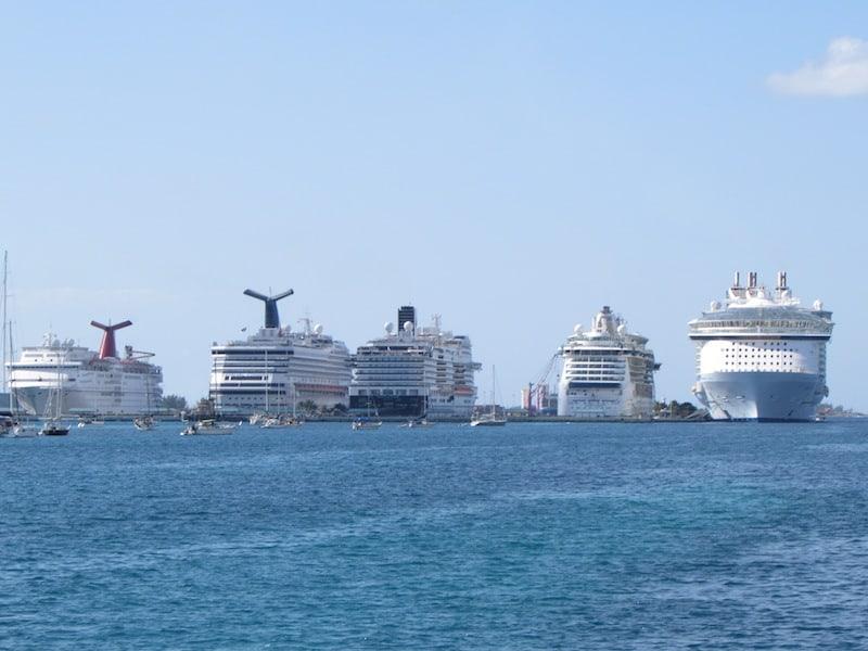 Five cruise ships in Nassau Harbor