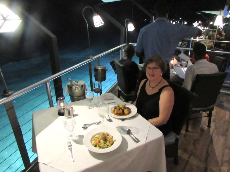 Dining over the water at Champers in Barbados