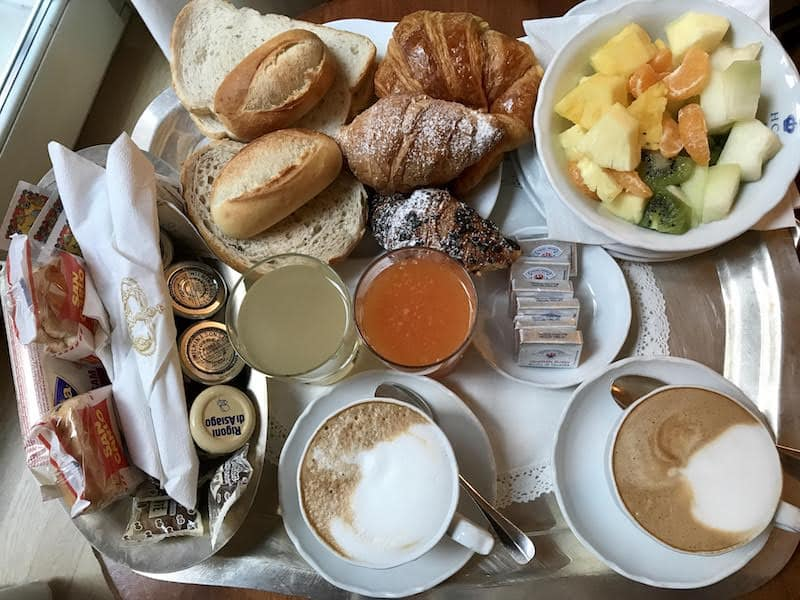 Breakfast in bed at our hotel