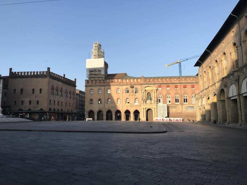Piazza Maggiore, the living room of the historic center of Bologna, in morning