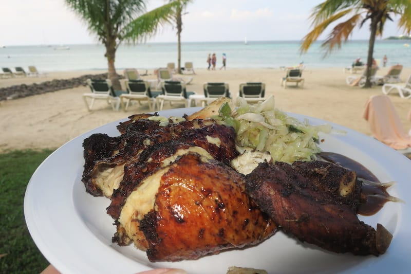 Tasty Jerk Chicken by the beach