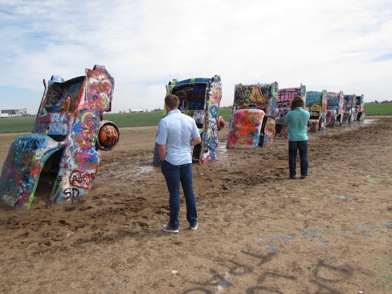 Unusual sculptures at Cadillac Ranch