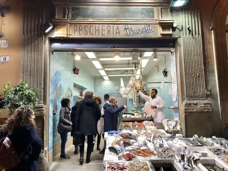 A busy fishmonger's shop in the Quadrilateral