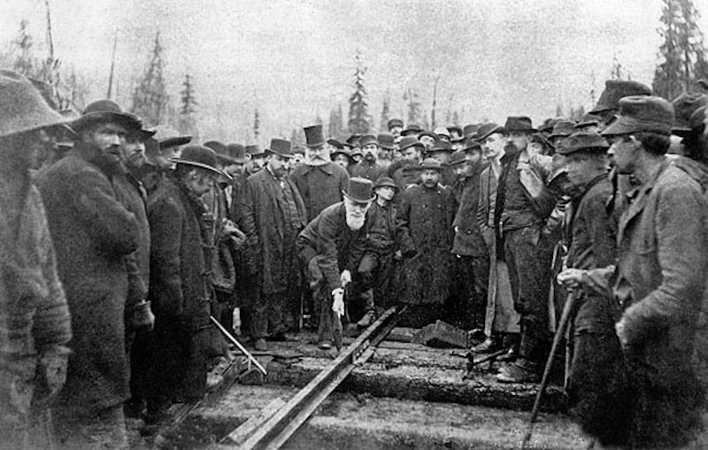 Placing the last spike on the Canadian Pacific Railway