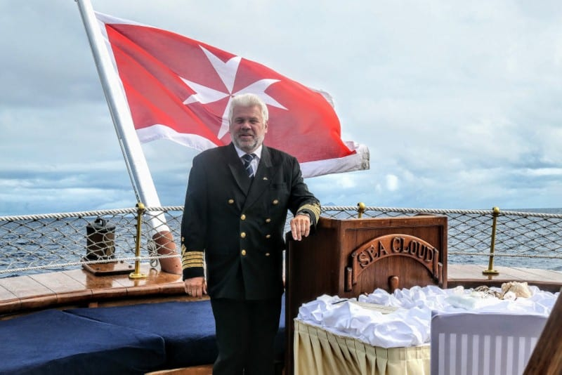 Many guests choose Sea Cloud to celebrate milestones or other special occasions. Here, the Captain officiates at a wedding ceremony.