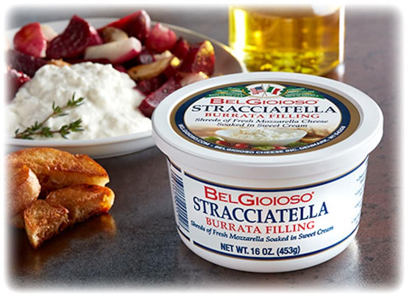 Container of Belgioioso stracciatella cheese