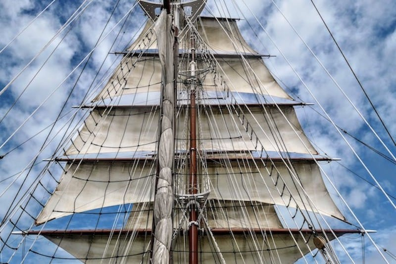 Sea Cloud with her sails unfurled