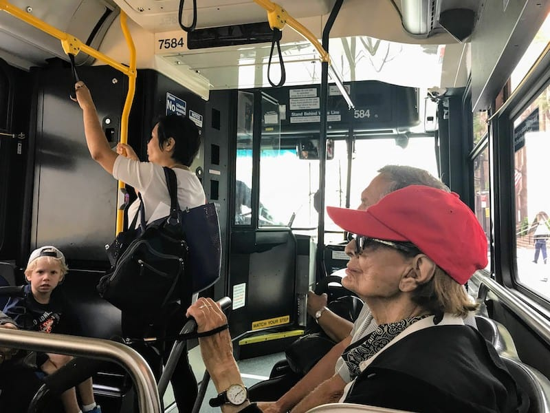 A cross-section of New Yorkers take the MTA bus