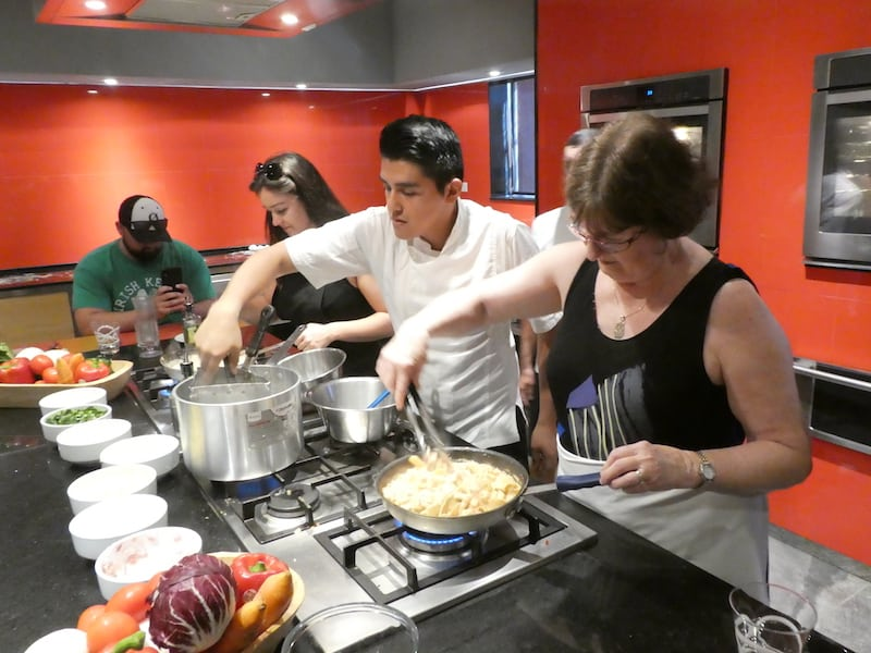 At work at the pasta cooking class at Zoetry Paraiso de la Bonita