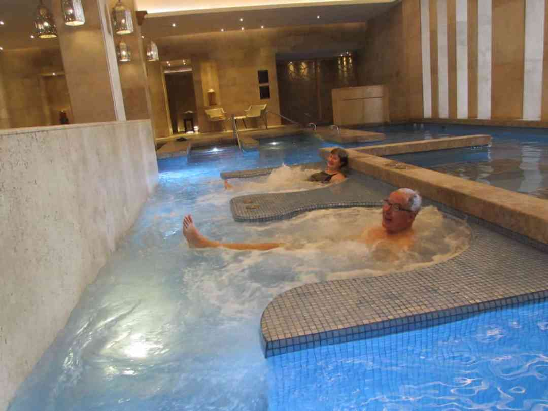 Enjoying the spa hydrotherapy pool