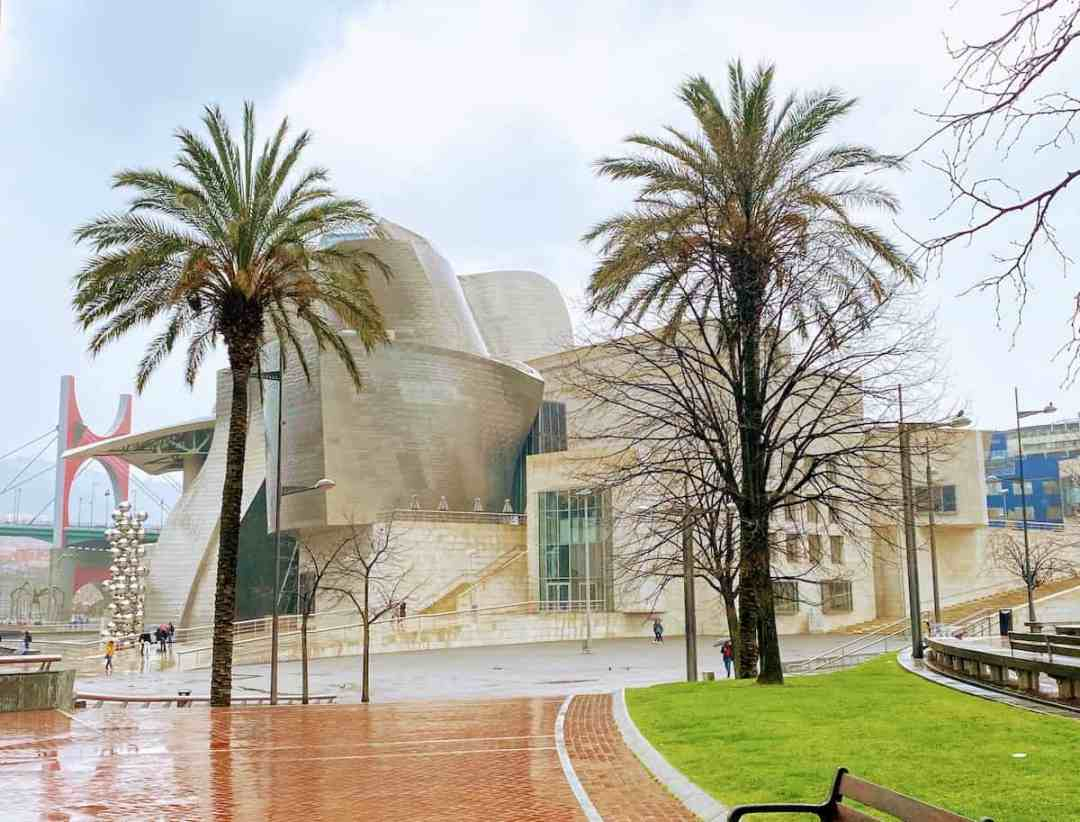 View of the Guggenheim Bilboa from the read (river side) ,