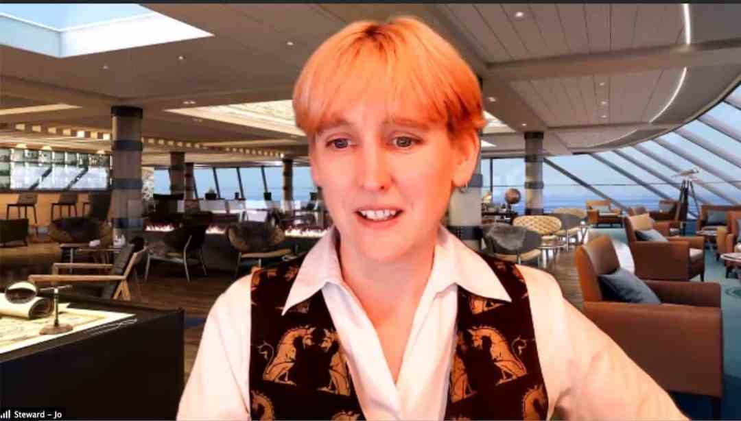 Jo Smedley, our virtual cruise director in one of the lounges (screenshot)