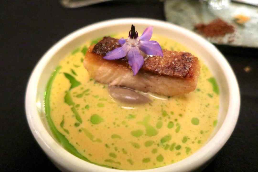 Trout in saffron sauce with chive oil