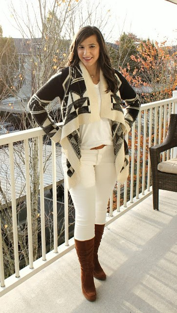 White Skinny jeans with Aztec Cardigan and Suede Heeled Boots