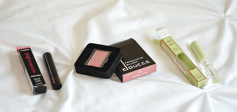 August beauty subscription box lancome mascara_doucce blush_pixi brow tamer