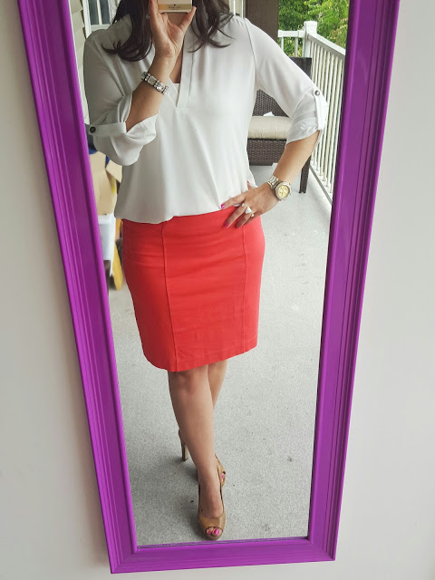 Orange Pencil Skirt Teacher Blog Back to School Outfit