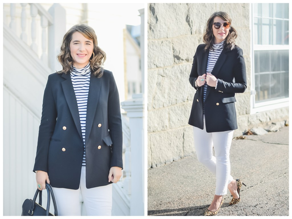 5aacb8ff58a55a Cute Teacher Outfit_basics_affordable fashion_Long Black Blazer_add  stripes_turtleneck top_white skinny jeans_leopard Pumps