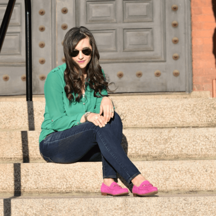 Fushia shoes and green top outfit
