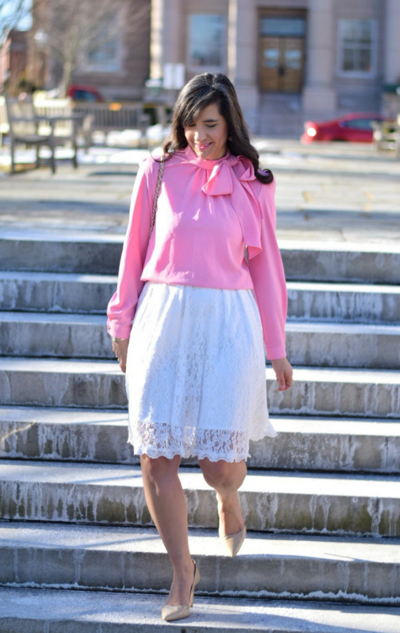 Pink Bow Blouse_Valentine's Day Outfit_Teacher Style blog_White Lace Skirt_White lace dress_Valentine's Day Outfit_Nude Heels