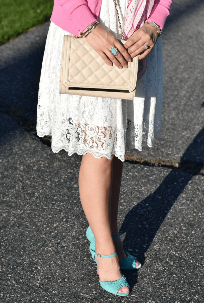 Quilted Target Clutch-Betsey Johnson Turquoise heels-white lace dress-cable bracelets