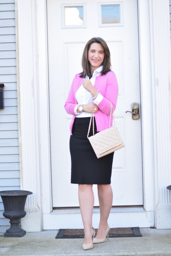 67ac06c3192 valentine teacher style white button-up bodysuit teacher outfit work  outfit office style pink cardigan nude pumps black pencil skirt
