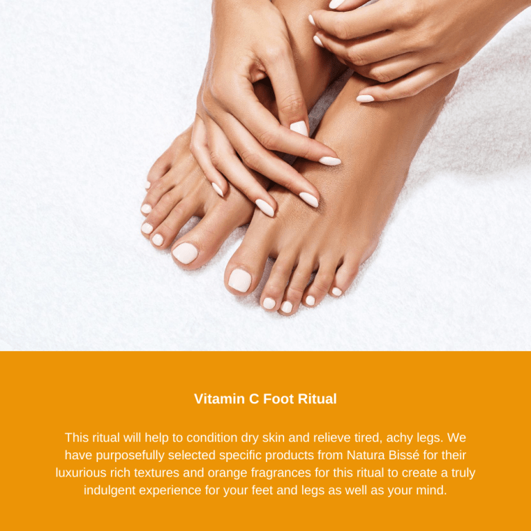 This ritual will help to condition dry skin and relieve tired, achy legs. We have purposefully selected specific products from Natura Bissé for their luxurious rich textures and orange fragrances for this ritual to create a truly indulgent experience for your feet and legs as well as your mind.